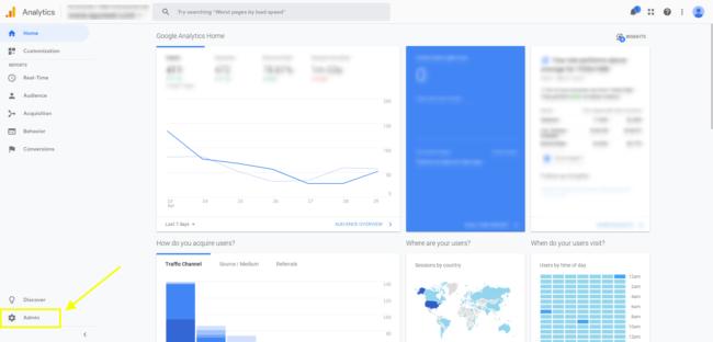 Google Analytics Gear Icon