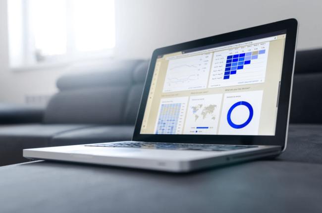 Showcasing marketing data on laptop