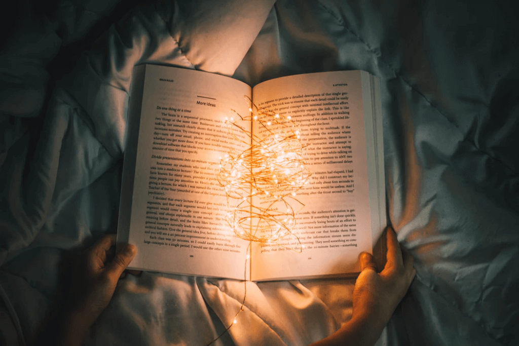 Book with twinkle lights