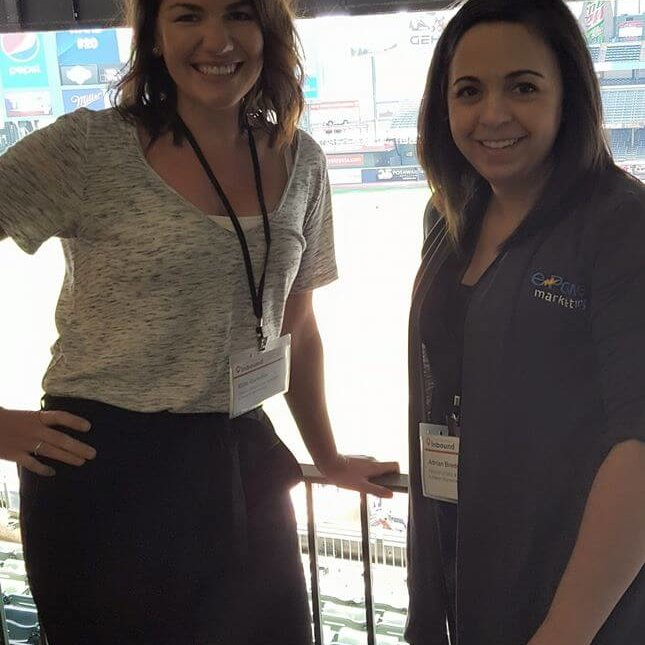 Ellie Gunville and Adrian Bredeson attending a digital marketing conference at Miller Park in Milwaukee, WI