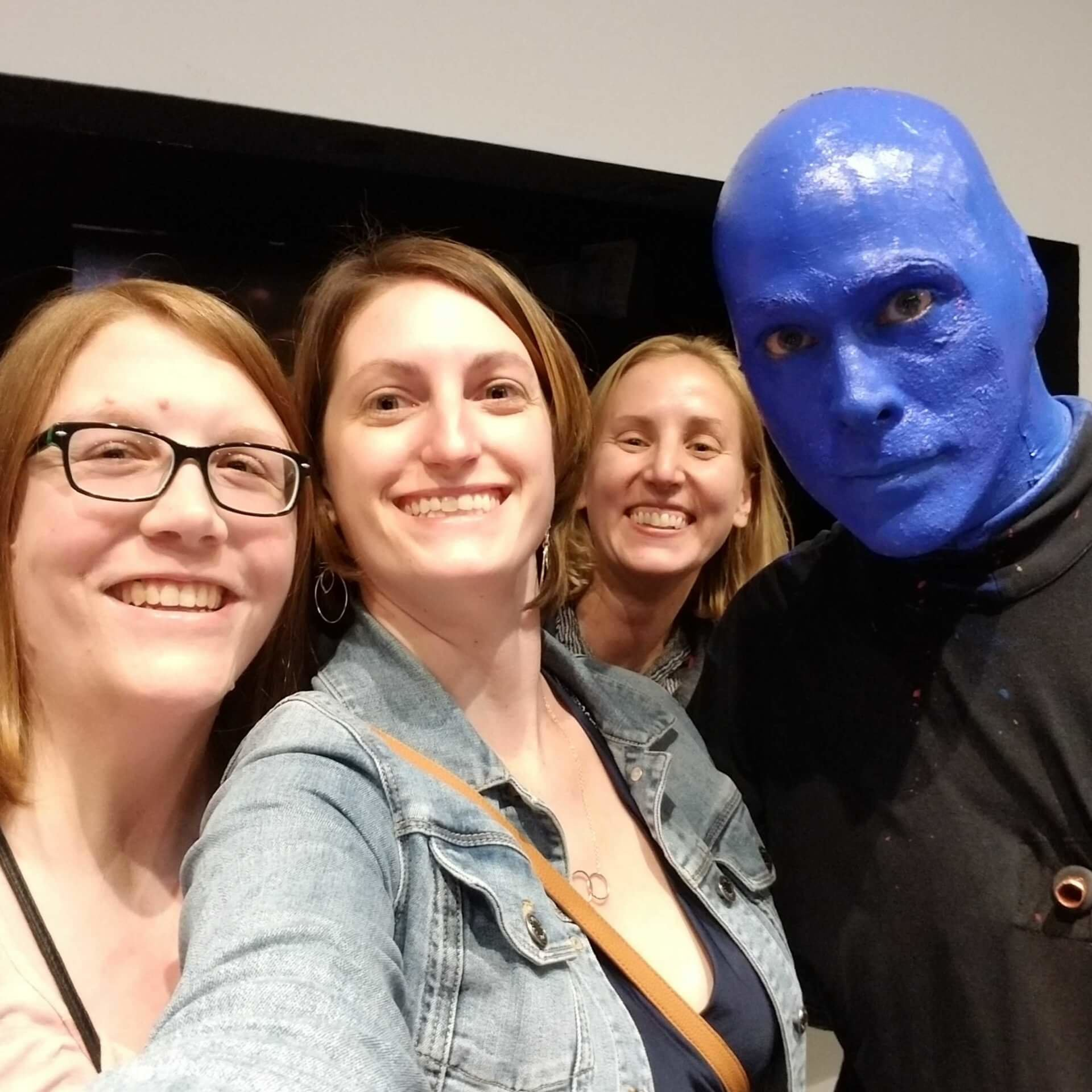 Emily Miels and Andi Thiel after a Blue Man Group performance in Chicago, IL